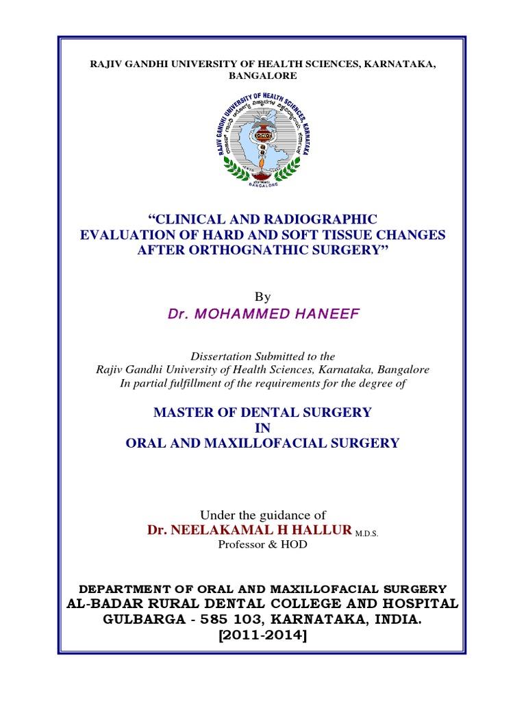 rajiv gandhi university thesis topics in oral and maxillofacial surgery