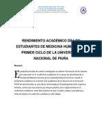 RENDIMIENTO ACADÉMICO DE LOS ESTUDIANTES DE MEDICINA HUMANA DEL PRIMER CICLO DE LA UNIVERSIDAD NACIONAL DE PIURA
