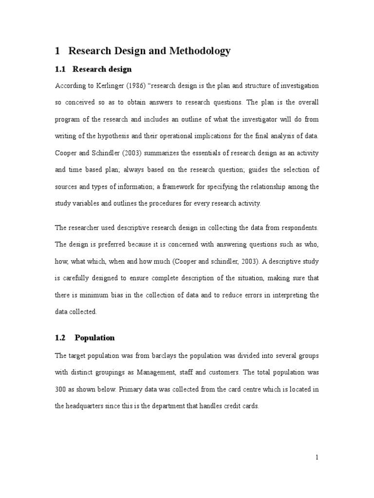 Research Design And Methodology | Research Design | Sampling (Statistics)