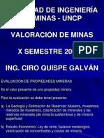 CURSO VALUACIÓN DE MINAS 2009-II