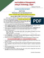 Exam Form Filling Notice for I Sem Back-Reback-Old Back Exam 2013-14