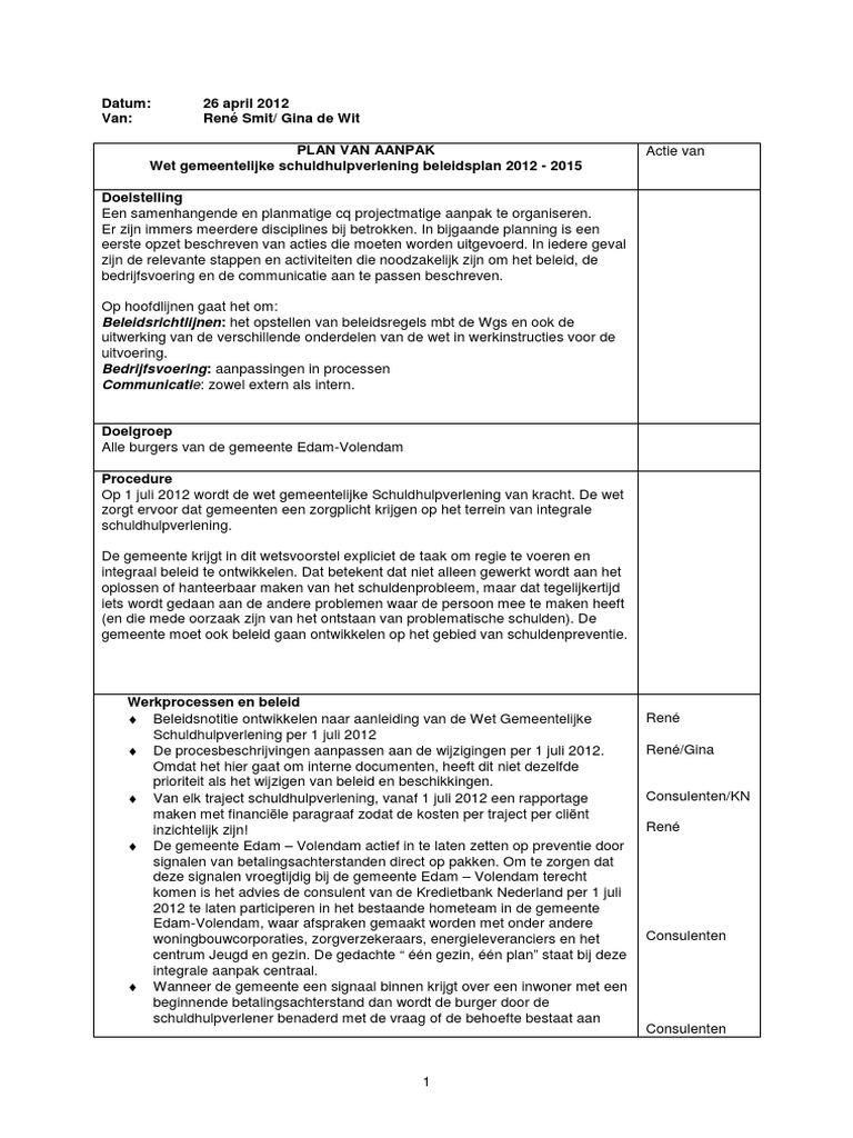 plan van aanpak schuldhulpverlening Plan Van Aanpak Schuldhulpverlening van van de gemeente Edam Volendam plan van aanpak schuldhulpverlening