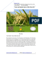 The Nutritive Value and Quality Index of Rice Bran Oil