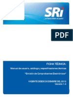 04-Dic-2013 Ficha Tecnica Comprobantes Electronicos Version 1.4