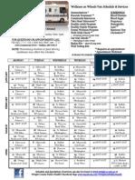 2014 WOW Van Schedule