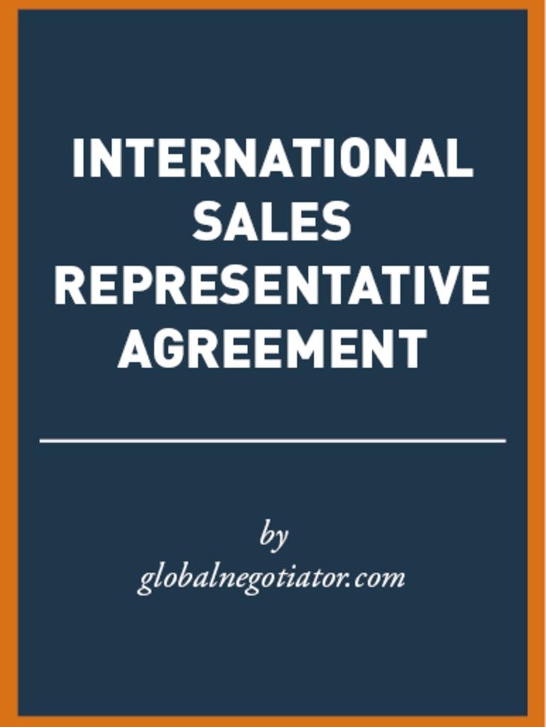 International Sales Representative Agreement Sample Negotiation
