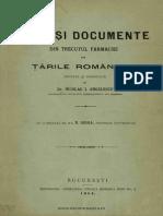 Acte şi documente din trecutul farmaciei în Ţările Româneşti, 1904 - N.I. Angelescu