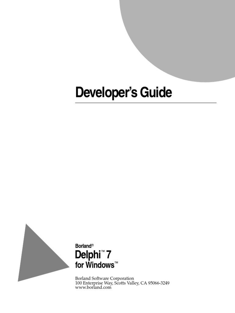 delphi 7 developers guide component object model menu computing rh scribd com Borland Delphi 7 Serial Number delphi 7 user guide pdf