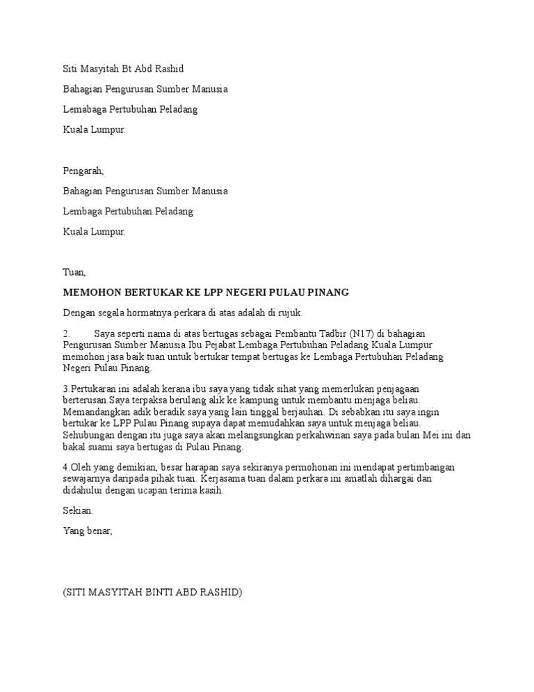 Surat Rasmi Permohonan Pindah Tempat Kerja Rumah Aoi