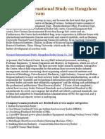 Newport International Study on Hangzhou Boiler