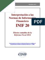 INIF 20 Efectos Contables de La Reforma Fiscal 2014