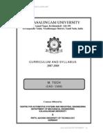 M.tech CADCAM Syllabus