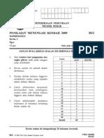 Mathematics P2 Trial PmR Perak 2009