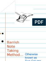 Barrish Note Taking Method