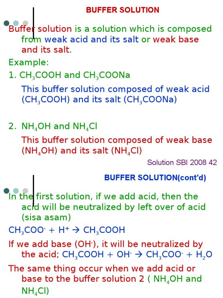 solution 5 buffer solution acid