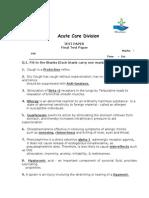 Test Paper - Acute Care Division - Final Test Paper- A