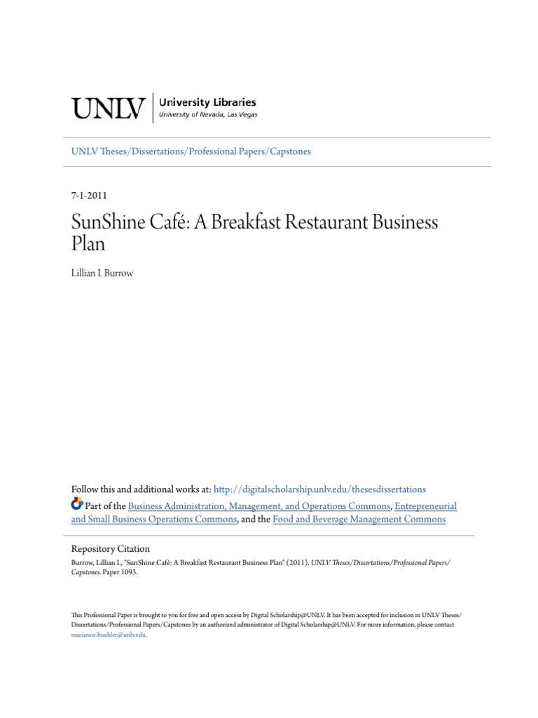 small restaurant business plan