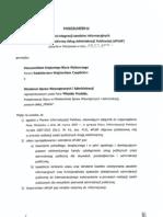 Porozumienie w sprawie integracji zasobów informacyjnych z ePUAP zawarte pomiędzy Ministrem Spraw Wewnetrznych i Administracji a Kierownikiem Krajowego Biura Wyborczego w dniu 19.01.2009r
