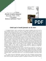 Jean Marie Gustave Le Clezio Celui Qui Navait Jamais Vu La Mer