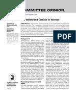 Von Willebrand disease in women