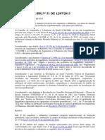Resolução CAUBR Nº 51 DE 12-07-2013