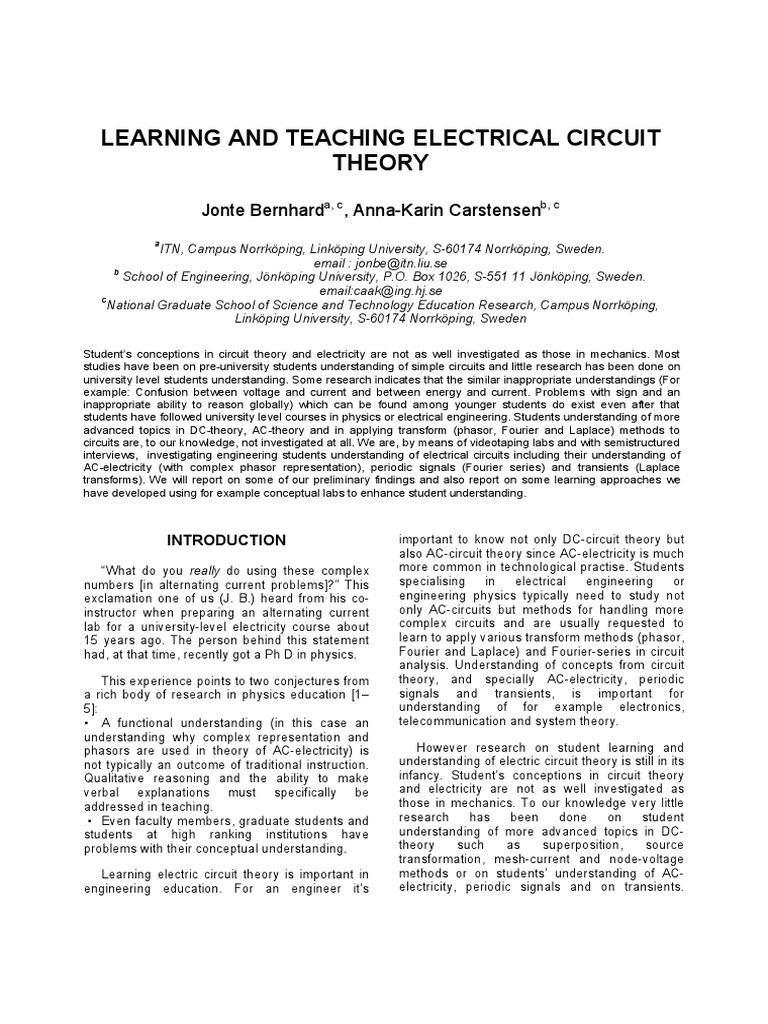 Electrical Engineering Network Analysis Circuits Ac Dc Theory Signal