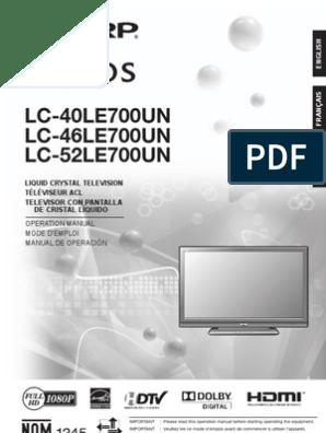 Sharp AQUOS LC-[40/46/52]LE700UN Operation Manual | Coaxial Cable