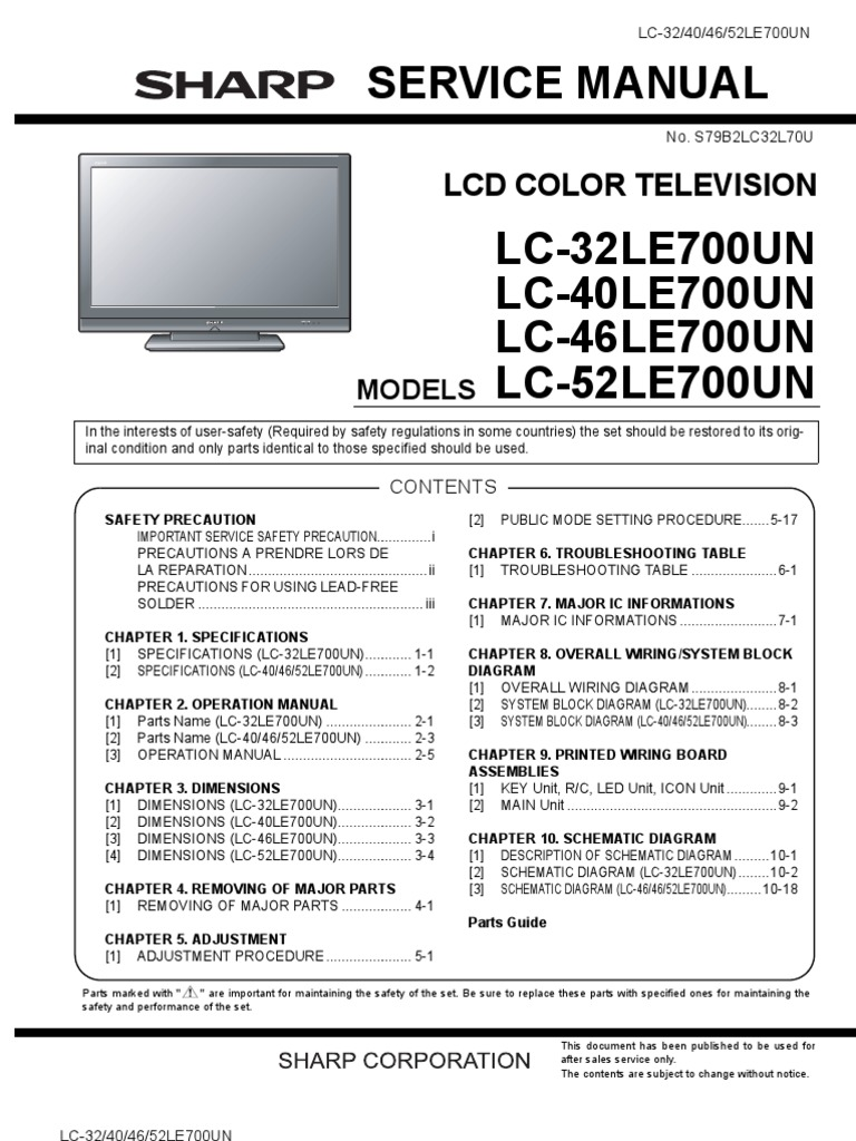 Sharp Aquos Lc 40  46  52 Le700un Service Manual