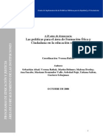 Informe Justicia-Educacion, Politicas-Formacion Etica y Ciudadana, Batiuk y Otro, 2008