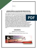 Opinion -Taller Implementacion Del Ministerio Recuperemonos en La Gracia de Dios
