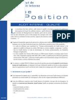Prise de Position Audit Interne Qualite Mai 2004 1