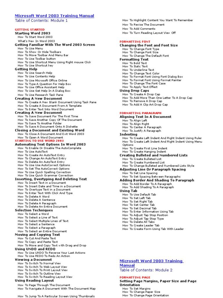 Microsoft Word 2003 Training Manual | Microsoft Word | Hyperlink