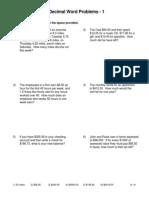 Decimal Word Problems 1
