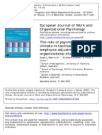 The Role of Psychological Climate in Facilitating Employee Adjustment During Organizational Change
