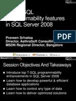 T-SQL Enhancements With SQL Server 2008 - Praveen Srivatsav[1]