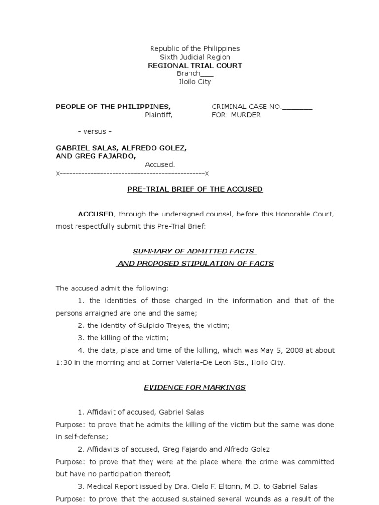 Sample of pretrial brief for the defense brief law for Copy brief template