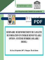 Seminaire de Renforcement Des Capacites en Energies Renouvelables Et Systemes Hybrides Iles Du Saloum