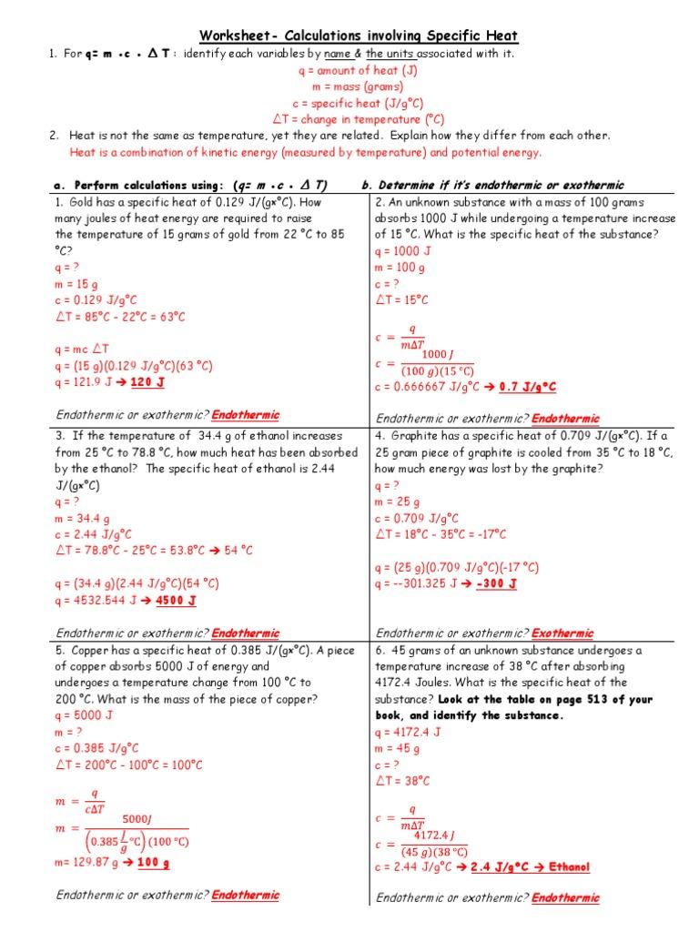 worksheet specific heat worksheet with answers grass fedjp worksheet study site. Black Bedroom Furniture Sets. Home Design Ideas