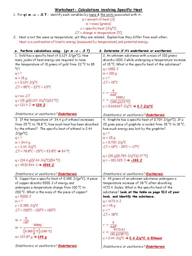 Worksheets Specific Heat Worksheet Answers specific heat answers 2013 capacity