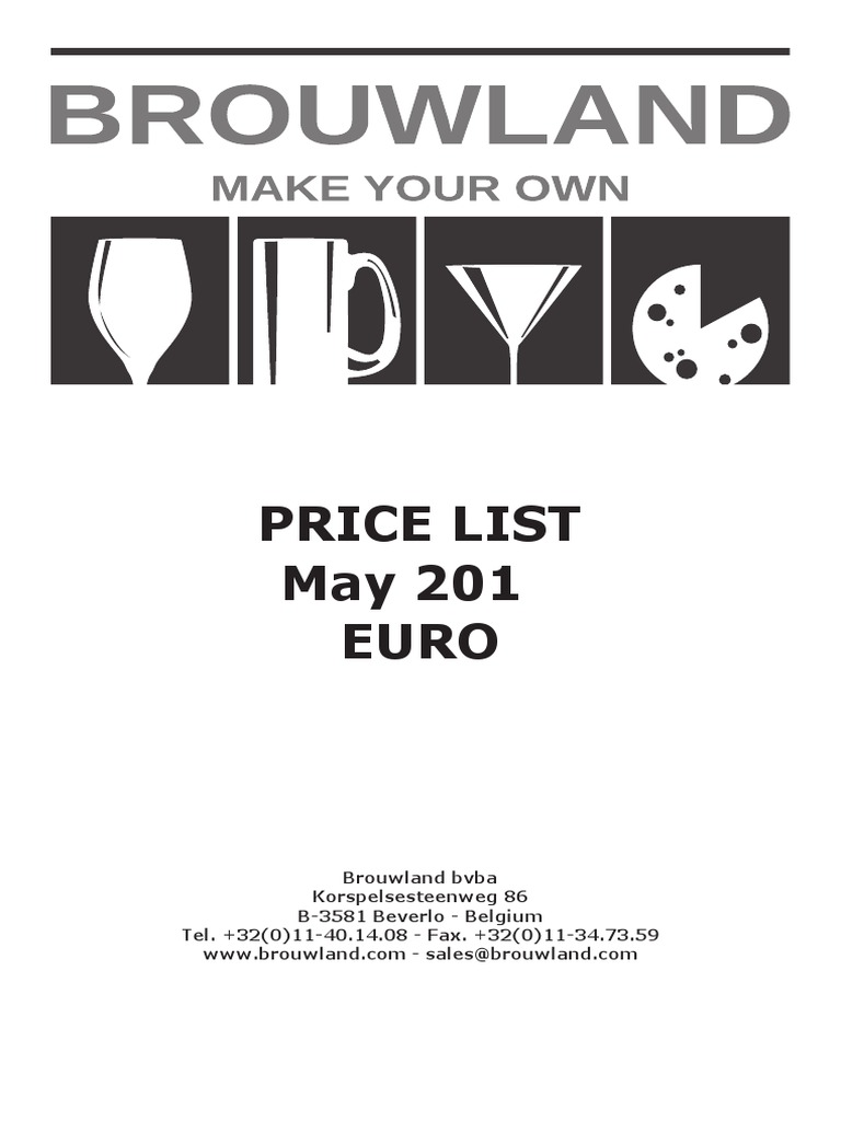 Brouwland Pricelist 05 13 | Prices | Invoice