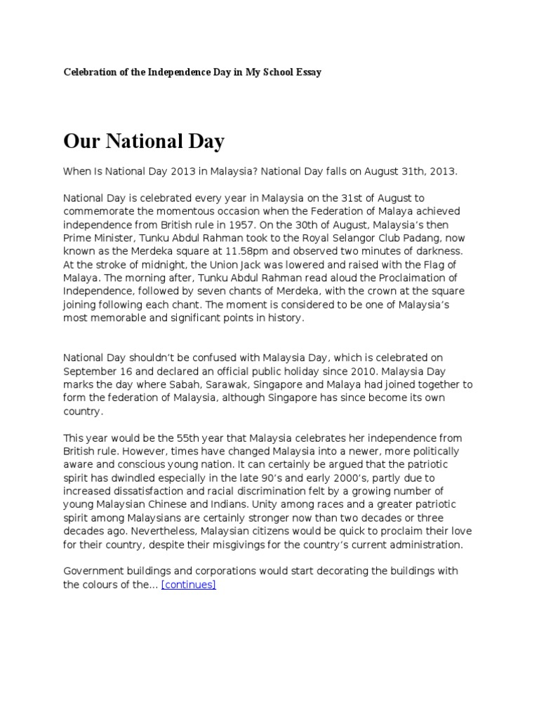 Celebration of the Independence Day in My School Essay   Malaysia ...