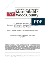 A Cost/Benefit Analysis of the  University of Wisconsin - Marshfield/Wood County Campus Recycling Program