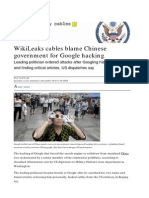 WikiLeaks Cables Blame Chinese Government for Google Hacking