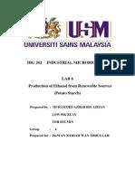IBG 202 LAB 6 Production of Ethanol