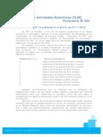 Informe Técnico - Clasificador de Actividades Económicas _CLAE_ - Formulario 883 Rev1
