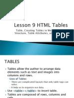 Unit II - Lesson 9 - HTML Table