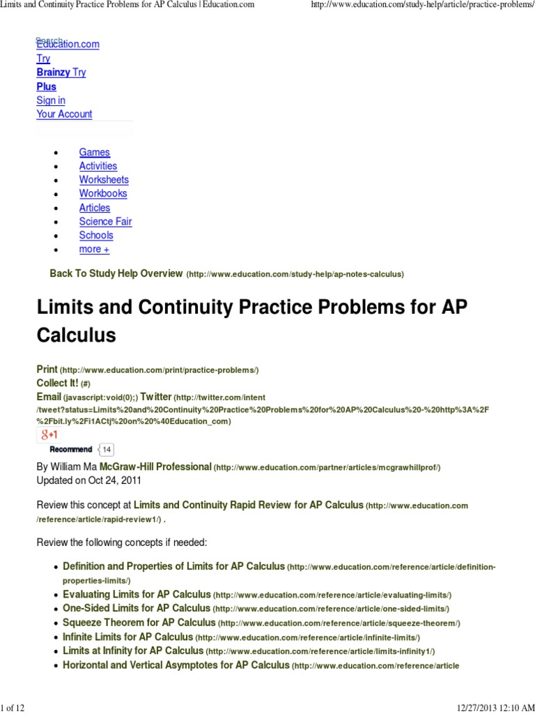 Worksheets Grade 12 Work Sheet On Limit And Continity limits and continuity practice problems for ap calculus education continuous function