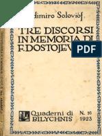 Tre Discorsi in Memoria Di F. Dostoevskij, V. Solov'ëv