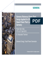 Siemens Reference Power Plant Design Applied for Ultra-Super-critical
