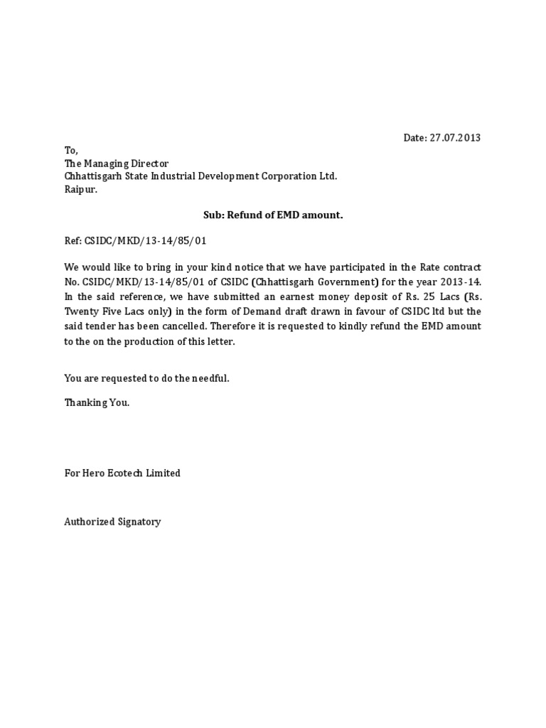 letter for refund of emd
